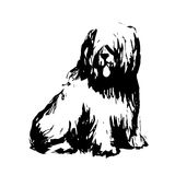 Dog. Black puppy on a white background. black & white. Logo for the year 2018. Sketch of ink. A sketch of a dog stock illustration
