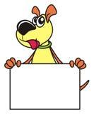 Dog with a blank sign. Dog with a blank sign in his paws Stock Photos