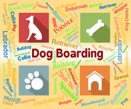 Dog Boarding Represents Pets Vacation And Puppy. Dog Boarding Meaning Doggy Daycare And Vacation stock illustration