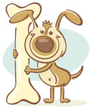Dog with bone. Vector quick-sketch of a happy dog, holding a big bone Royalty Free Stock Photos