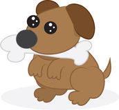 Dog with bone. Cartoon dog or puppy with bone in mouth Stock Image