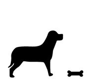 Dog and bone. Silhouette of and dog and bone Stock Image