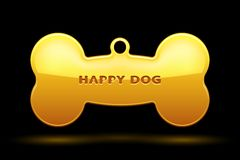 Dog Bone. Gold Bone for dog collar on black background Stock Image