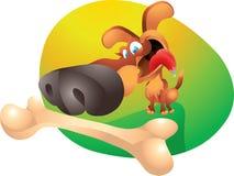 Dog with bone. Isolated illustration Stock Images