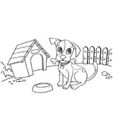 Dog with bone in mouth at house cartoon coloring page vector Stock Images