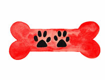 Dog Bone With Paw Prints Watercolor. Red large dog bone with black dog paw prints watercolor painting Stock Photo