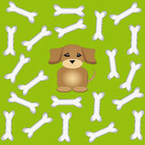 Dog bone with puppy on green background. Vector illustration Royalty Free Stock Photography