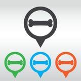 Dog bone sign icon. Pets food symbol. icon pin map Stock Photo