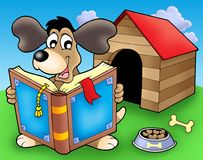 Dog with book in front of kennel. Color illustration Stock Image