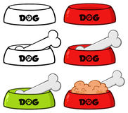 Dog Bowl With Animal Food And Bone Drawing Simple Design Set 2. Collection Royalty Free Stock Photography