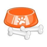 Dog bowl with big bone. Isolated on white background Royalty Free Stock Photography