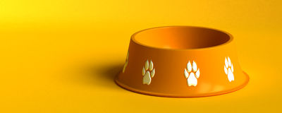 Dog bowl. Bright orange bowl for dogs on bright background Royalty Free Stock Photos