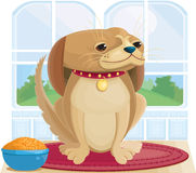 Dog with a Bowl of Food Stock Photography
