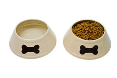 Dog bowls with food and water Stock Photography