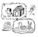 Dog with a box, mouse with cheese, duck in the lake, the cat on the pillow hand. Painted Royalty Free Stock Photo
