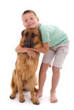 Dog and boy Stock Photo