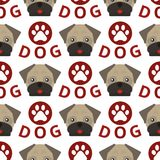 Dog breed french bulldog adorable doggy face. Pet animal seamless pattern background puppy vector illustration. Domestic mammal funny canine purebred Stock Illustration