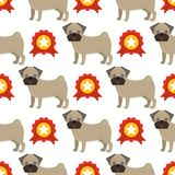 Dog breed french bulldog adorable doggy face pet animal seamless pattern background puppy vector illustration. Domestic mammal funny canine purebred Stock Photography