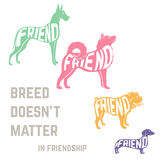 Dog breed silhouette with friendship concept text Royalty Free Stock Photography