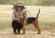 Dog breeder & exhibitor excited & ready for show ring. A pedigree dog show breeder and exhibitor poses with her champion Airedale Terrier at a Brisbane dog show Stock Photo