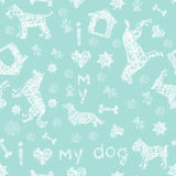 Dog breeds fresh  blue and white seamless pattern Stock Image