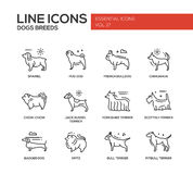Dog breeds - line design icons set Royalty Free Stock Photos