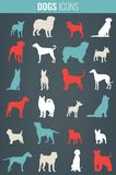 Dog breeds silhouettes. Dog icons collection. Chinese zodiac 2018. Vector Stock Photo