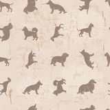Dog breeds silhouettes  vintage shabby seamless pattern Royalty Free Stock Photos