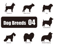 Dog breeds, standing on the ground, side,silhouette Royalty Free Stock Photography