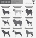 Dog breeds. Working (watching) dog set icon. Flat style Royalty Free Stock Photos