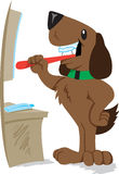 Dog brushing his teeth Stock Images