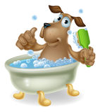 Dog in bubble bath cartoon. Dog grooming concept of cartoon dog character having a bath doing a thumbs up and scrubbing his back Stock Photography