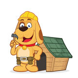 Dog builder with dog house. Clipart picture of a dog builder cartoon character with dog house Stock Photo