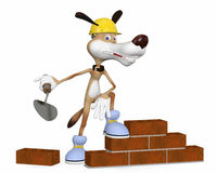 The dog on building lays a brick. Stock Photography
