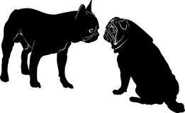 Dog Bulldog. The dog breed bulldog.Dog Bulldog black silhouette vector isolated on white background. Dog pug. Meeting two dogs of Royalty Free Stock Photos