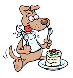 Dog with cake. A cartoon dog with napkin, spoon and fork, having a cake vector illustration