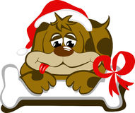Dog with cap of santa and its bone. Dog disguised with santa cap and the bone that gave to him royalty free illustration