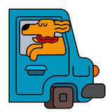 Dog from car window. pet to ride in auto. Traveling is an animal Stock Photos