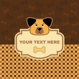 Dog card. Animal greeting card with funny cartoon dog Stock Image