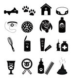 Dog Care Icons. Set of black dog care icon / web button collection on white background Stock Photography
