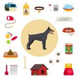 Dog care object set, items and stuff,  cartoon illustration Royalty Free Stock Photos
