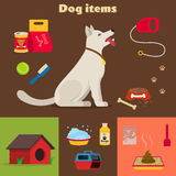 Dog care object set, items and stuff Stock Images