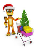 Dog and cart with gifts Royalty Free Stock Image