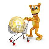 Dog with bitcoin. A dog with a cart in which is a bitcoin coin. 3d rendering Stock Images