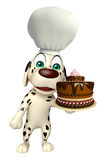 Dog cartoon characte with chef hat and cake Royalty Free Stock Images