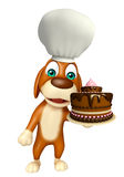 Dog cartoon characte with chef hat and cake Royalty Free Stock Photo