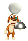 Dog cartoon characte with chef hat and cloche Stock Photo