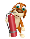 Dog cartoon characte with fire extinguisher Royalty Free Stock Photo
