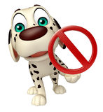 Dog cartoon characte with stop sign Royalty Free Stock Image