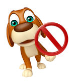 Dog cartoon characte with stop sign Stock Photos